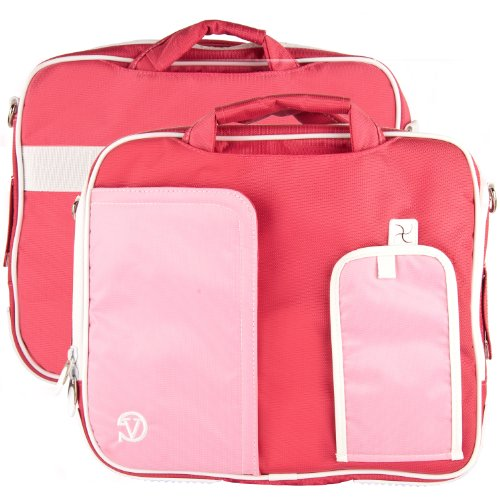 White Trim Pink Pindar Durable Water Resistant Nylon Protective Carrying Case Messenger Shoulder Bag for Sony VAIO T Series 13.3 inch Touchscreen Ultrabook
