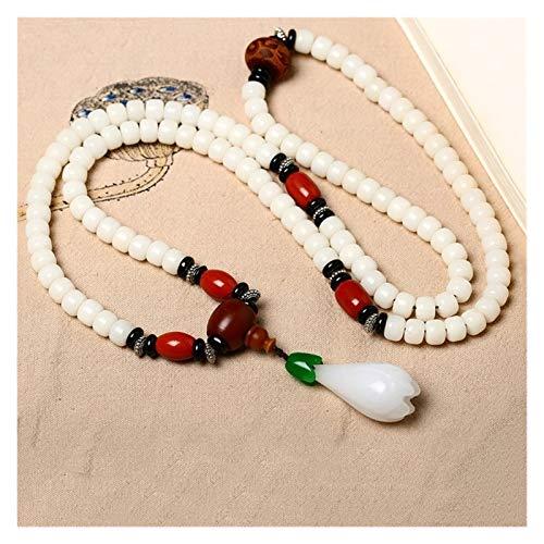 NEWRX Las Pulseras Blancas Naturales Bodhi Buda 108 Cuentas con Cadena Pendiente suéter de la Flor Fresca de la Yoga Collar joyería Energía (Color : A, Size : Small)
