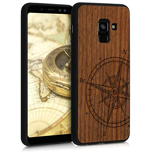 kwmobile Cover Compatibile con Samsung Galaxy A8 (2018) - Hard-Case in Legno con Bumper TPU - Bussola Legno Marrone Scuro