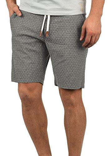 Blend Serge Herren Chino Shorts Bermuda Kurze Hose Mit Rauten-Muster Und Kordel-Gürtel Aus 100% Baumwolle Regular Fit, Größe:L, Farbe:Black (70155)