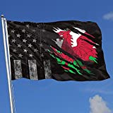Elaine-Shop Bandiere da Esterno Usurate Bandiera USA Bandiera Gallese Strappata Bandiera 4 * 6 Ft per la Decorazione Domestica Appassionato di Sport Calcio Pallacanestro Baseball Hockey