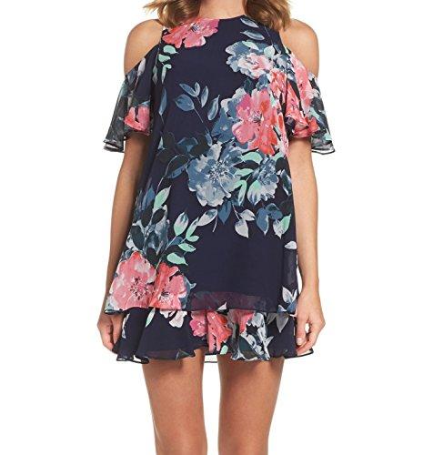 Eliza J Women's Cold Shoulder Floral Dress, Navy, 10