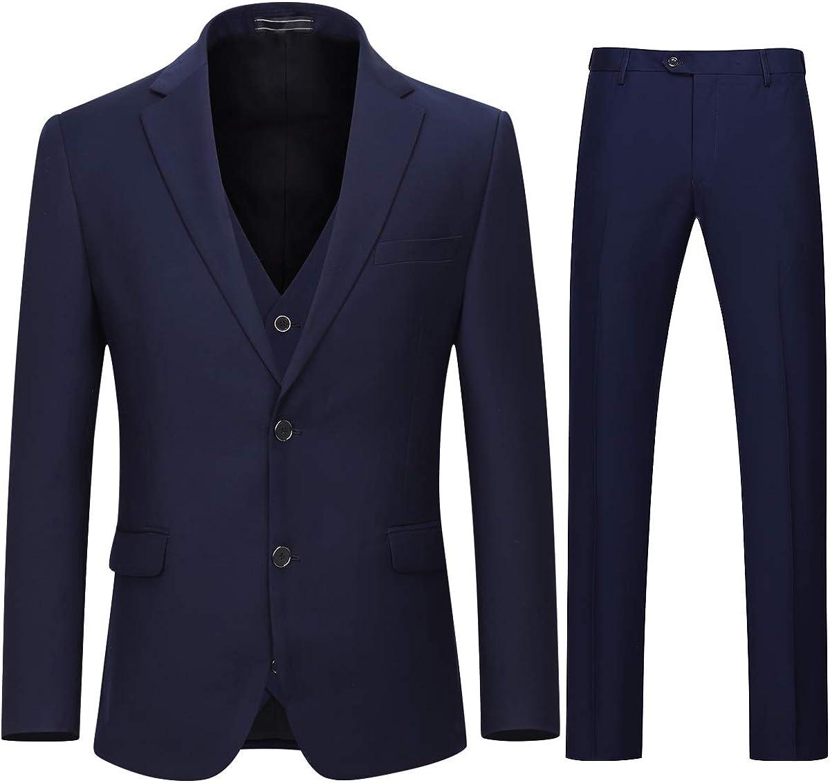 Mens 3 Piece Business Suit 2 Button Classic Fit Solid Suit Set Tux Dinner Outfit