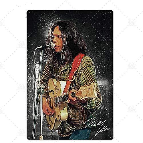 N/B Rock Roll Zinn Zeichen Vintage Metall Poster Plaque Metall Wanddekoration Wohnzimmer Mann Höhle Club dekorative Platte 7,87 x 11,8 Zoll TH6132
