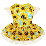 kyeese Dog Dress for Small Dogs Sunflower Dogs Sundress Tulle with Ruffle Sleeves Dog Apparel