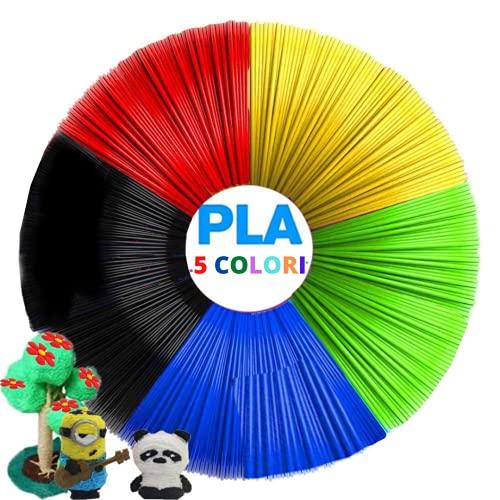 Filamento Penna 3d Universale Ecologico 5 Colori Filamenti Pla Da 5m Per Stampa 3d Filamenti Per Stampanti E Materiali Per Hobby Disegni Creativi Sicuro Per Bambini Filament Set Per 3d Pen Multicolor
