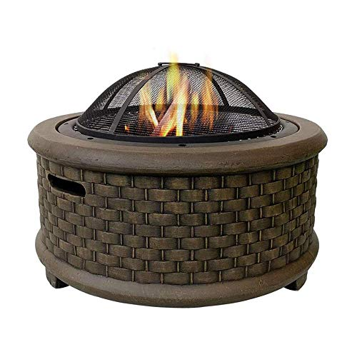 YLJYJ Geo Fire Pit Bowl, Fashionable and Artistic Magnesium Oxide Base Fire Pit with BBQ Grill Shelf for Outdoor Garden Barbecue ExcursiobbQ