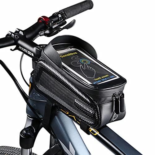 YZX Bolsa Bici, Bicicleta de montaña/Carretera Deportes al Aire Libre Bolsa de viga Delantera para Montar, sombreado portátil Pantalla táctil Impermeable teléfono móvil Bolsa para sillín de Bicicleta