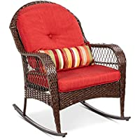 BCP Wicker Rocking Chair w/ Steel Frame, Pillow, Cushions