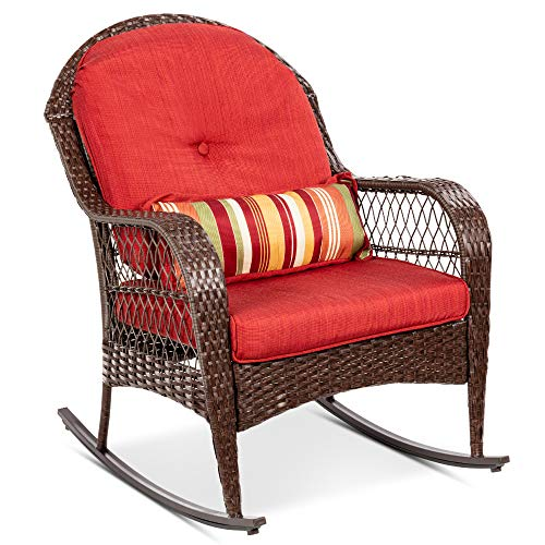 Best Choice Products Outdoor Wicker Patio Rocking Chair for Porch Deck Poolside w/Steel Frame WeatherResistant Cushions  Red