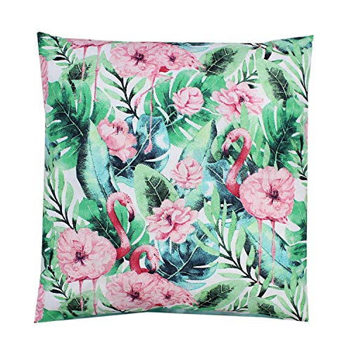 TupTam Funda para Cojin con Diseño Decorativo para Niños, Flamingo/Flores, 80 x 80 cm