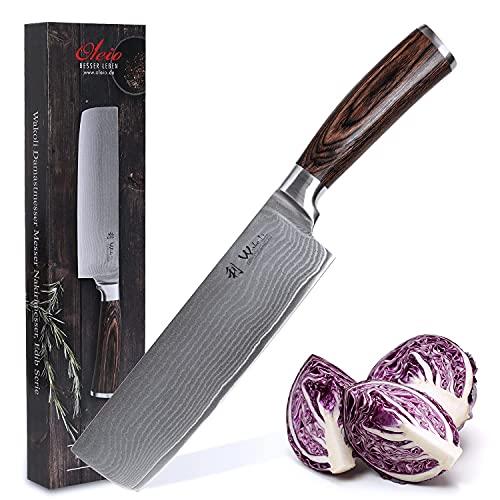 Wakoli Cuchillo Nakiri de Damasco, hoja extremadamente afilada de 67 capas, cuchillo de cocina profesional de acero de Damasco japonés auténtico con mango de madera de Pakka Serie Wakoli Edib?
