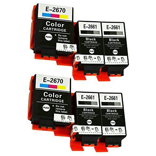 Caidi - Cartuchos de tinta compatibles con Epson 266 267 T2661 T2670 para impresora Epson WorkForce WF-100W (6 unidades, negro, 2 tricolor)