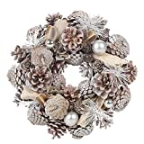 URBNLIVING Artificial Christmas Wreath, Resin Material Pinecone Leaves Berries Xmas Indoor Outdoor Ornament Display Item, 24-34cm, Multiple Colours (Whitewashed, 24cm)