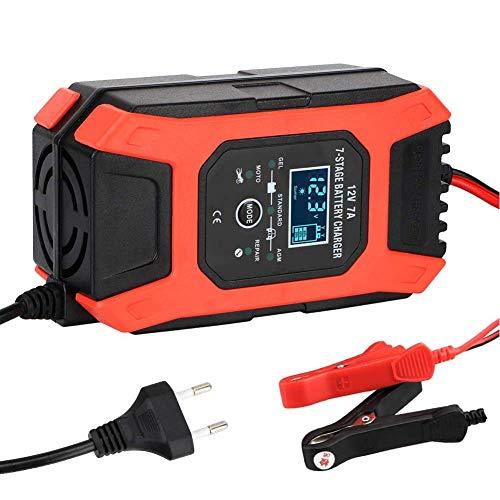 Yangyang Cargador de Batería 6A12V,Inteligente Múltiples Protecciones Mantenimiento Automático Inteligente Pantalla LCD,para Coche Moto ATV RV Barco,RVs