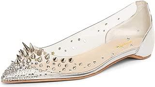 Women Sparkle Rhinestones Mesh PVC Ballet Flats Pointed Toe Spikes Rivets Sequins Dress Shoes