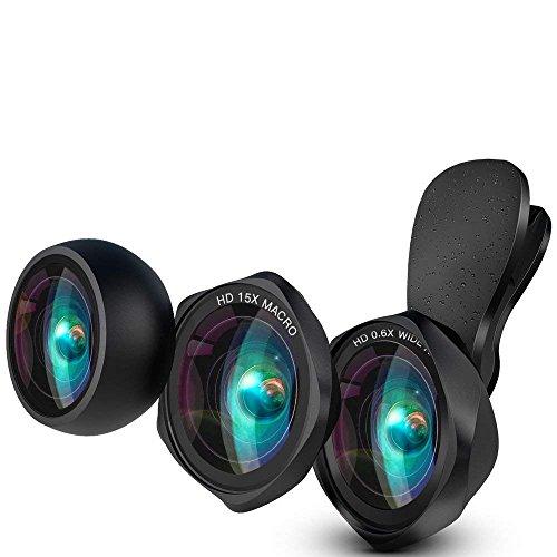 Kit de Lente deTeléfono HD con Clip para Cámara, Lente Gran Angular de 0.6X y Lente macro y Lente ojo de pez de para iPhone XS/XS Max/XR/X/iPhone 8/8Plus/iPhone 7 Huawei/Samsung Mayoría de Tel
