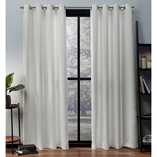 Exclusive Home Curtains Oxford Textured Sateen Thermal Window Curtain Panel Pair with Grommet Top, 52x96, Vanilla, 2 Count