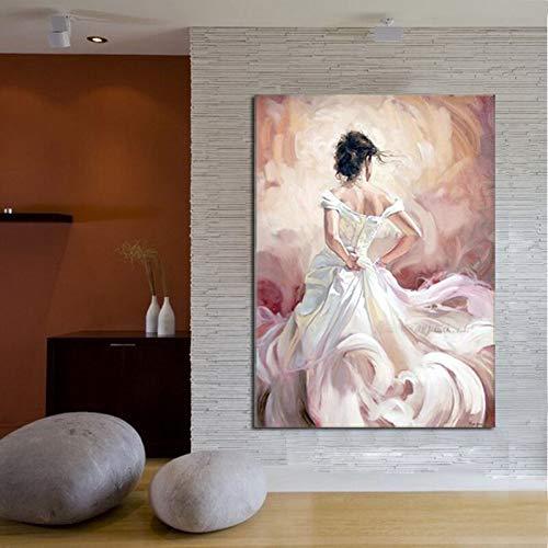 Bailarina hecha a mano moderna espalda blanca falda papel pared imagen impresión pintura al óleo lienzo artista decoración del hogar@@ pintura sin marco
