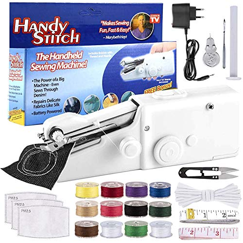 ANJUU Mini Handheld Sewing Machine Portable Electric Hand Sewing Machine Quick Repairing Suitable for Home Travel, Clothes, Cloth, Curtain, Pet Clothes