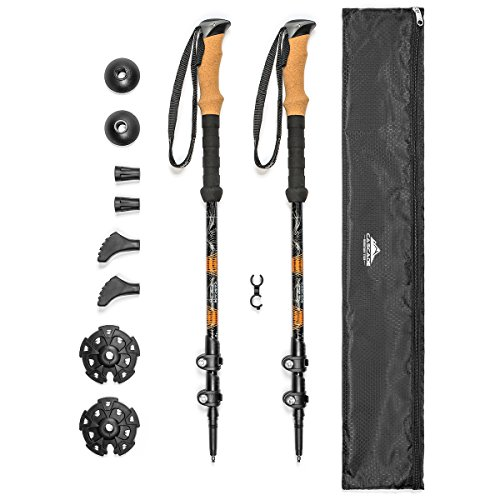 "Cascade Mountain Tech Trekking Poles - Aluminum Hiking Walking Sticks with Adjustable Locks Expandable to 54"" (Set of 2)"