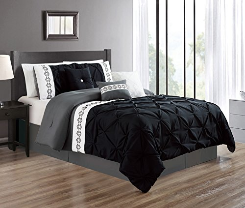 Grand Linen 7 Pieces Queen Size Black/Grey/Gray Double-Needle Stitch Pinch Pleat All-Season Bedding-Goose Down Alternative Embroidered Comforter Set