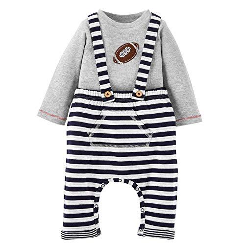 Mud Pie Baby Boys' Football Suspender Pants Set Overalls, Gray, 6-9 Months