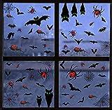 heekpek 105 PCS Fluoreszierende Aufkleber der Halloween-Fledermausspinne Halloween Fenster Aufkleber...