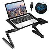 X2 Adjustable Laptop Stand, 2021 Upgraded Foldable Aluminum Laptop Desk with Large Cooling Fan & Mouse Pad for Bed, Sofa & Couch Lap Tray