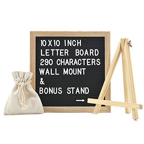 Best Changeable Felt Letter Board Sign Set with 290 Letters - FREE Canvas Stand and Canvas Bag - Create Custom Messages - Black Felt with White Letters - Oak Wood Framed - 10 x 10 Inches -