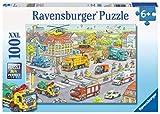 Ravensburger - Puzzle 100 Piezas, Vehículos en la Ciudad (10558)