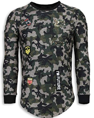Justing th US Army Camouflage Pullover - Long Fit Sweatshirt - Grün