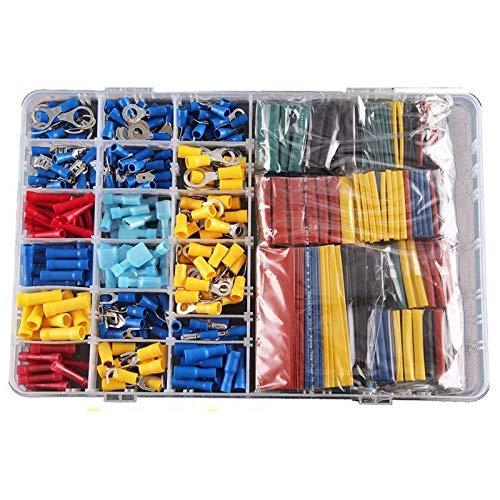 WFBD-CN Batterieklemmen Schrumpfschlauch Sleeving Kit Set Car Draht elektrische Anschlüsse Crimpsteckverbinder mit Kunststoff-Box (Color : Picture)