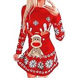 Photo de ❤ Robe pour Femme, Robe Midi de Noël Avec Motif de Rennes et Flocon de Neige Imprimé Sweat-Shirt à Manches Longues
