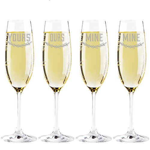 Yours - Mine - Ours - Mine Champagne Toasting Flute Glasses, Set of 4