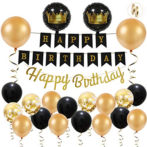 Ohighing Geburtstagsdeko Schwarz Gold Happy Birthday Girlande Geburtstag Manner Birthday Decorations Partydeko
