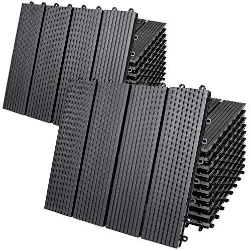Deuba Set de 22 Baldosas de WPC Clásicas Antracita 30x30m 2m² Montaje por Clips y Sistema de Drenaje