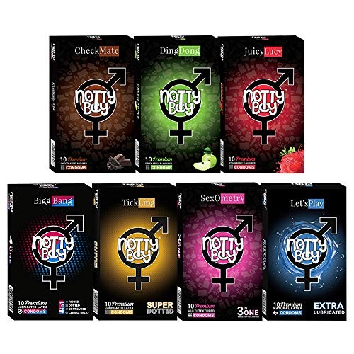 NottyBoy Condoms Variety Pack Bulk Value Combo 70 Count (10 Multi Textured, 10 Extra Dotted, 10 Extra Lubricated Plain, 10 BiggBang, 30 Flavored Condoms)