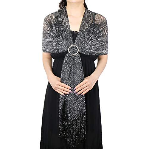 KAVINGKALY Chales y abrigos para vestidos de noche, hilo de seda metálico brillante Bufanda con flecos Bufanda para mujer (negro-plateado (con hebilla plateada))