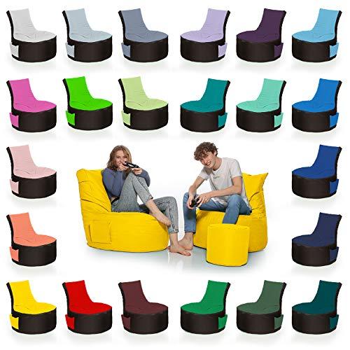HomeIdeal - 2Farbiger Gamer Sitzsack Lounge für Erwachsene & Kinder - Gaming oder Entspannen - Indoor & Outdoor da er Wasserfest ist - mit EPS Perlen, Farbe:Schwarz-Gelb, Größe:Erwachsene
