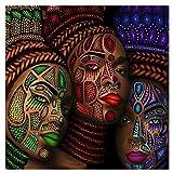 Mujeres étnicas africanas tatuaje cara retrato pintura carteles e impresiones cuadro de arte de pared para artículos para el hogar decoración de pared70x70 cm x1 sin marco