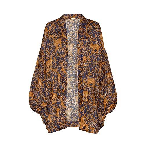 YYH para Mujer Cubre para Arriba La Gasa Floral De Impresión Kimono Suelta Mantón Cardigan Verano De Boho Blusa Ocasional Atractivo Superior del Traje De Baño De La Capes Beach,Orange Leopard,XXL