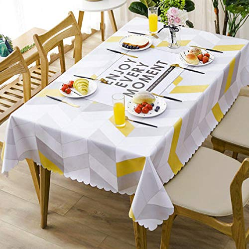 Traann Plastic tafelkleden afwasbaar, vierkant wipe clean vinyl tafelkleed stijlvol patroon waterdicht kanten tafelkleed 137*200 D