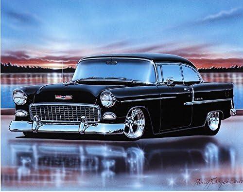Amazon Com 1955 Chevy Bel Air 2 Door Hardtop Hot Rod Car Art Print Black White 11x14 Poster Posters Prints