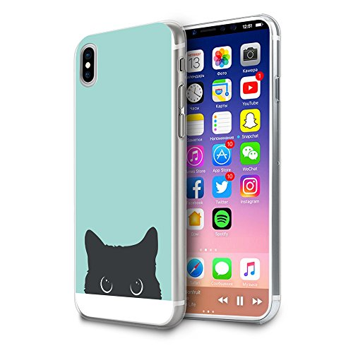 HelloGiftify iPhone Xs, iPhone X Case, Tiffany Blue&Cat TPU Soft Gel Protective Case for iPhone Xs