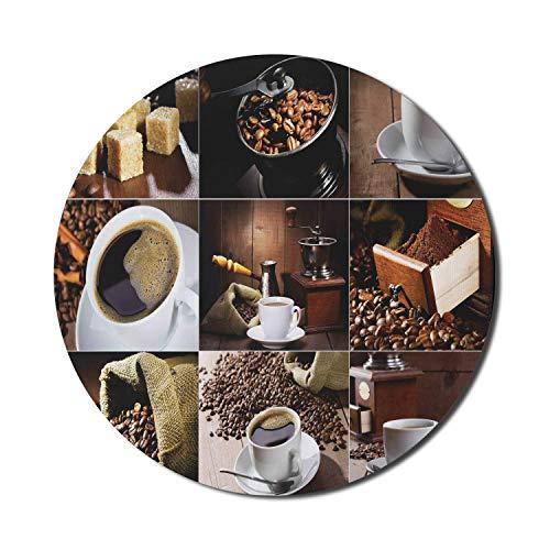 Kaffeemaus-Pad für Computer, verschiedene Fotos von Kaffeetassen und gerösteten Sitzsäcken Mühle Sugarcubes Collage, rundes rutschfestes dickes Gummi Modern Gaming Mousepad, 8 \'rund, braun weiß
