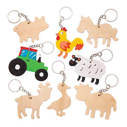 Baker Ross Schlüsselanhänger-Bastelsets aus Holz (4 Stück) - für Kinder zum Zusammensetzen und Befestigen an Schlüsselringen und Taschen