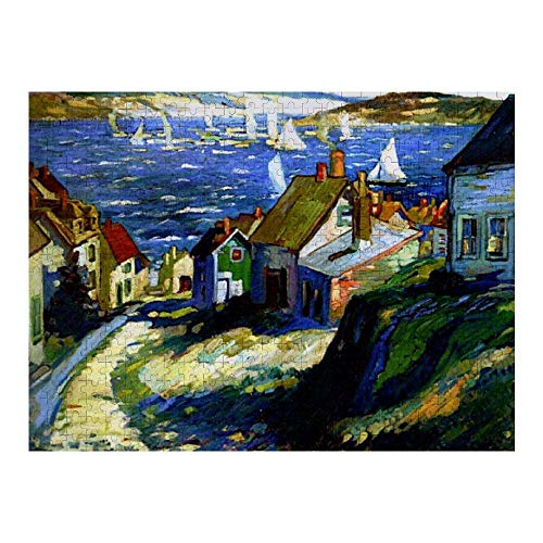 Sailboats by The Harbor Fine Art Painting Rompecabezas de 1000 Piezas para Adultos y familias, Rompecabezas clásico con Motivos Finos, colección de Arte, 50 x 75 cm