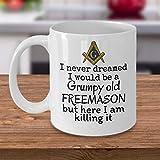 Tazza da caffè massonica brontolosa Old Freemason divertente massonico Lodge regali massoneria accessori rito scozzese Master Mason 425,2 g