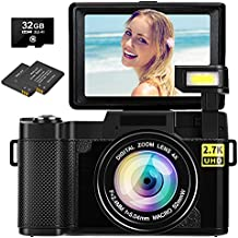 Digital Camera Vlogging Camera 30MP Full HD 1080P Digital Camera with Retractable Flash Light Camera 3 Inch Flip Screen Vlog Camera for YouTube with Two Batteries(32GB Micro SD Card Included)